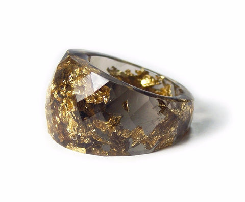 Smoky Gray Gold Flake Ring, Sizes 6-9
