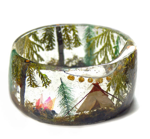 Camping in the Forest Resin Bracelet