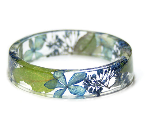 Blue Hydrangea Flower Resin Bracelet