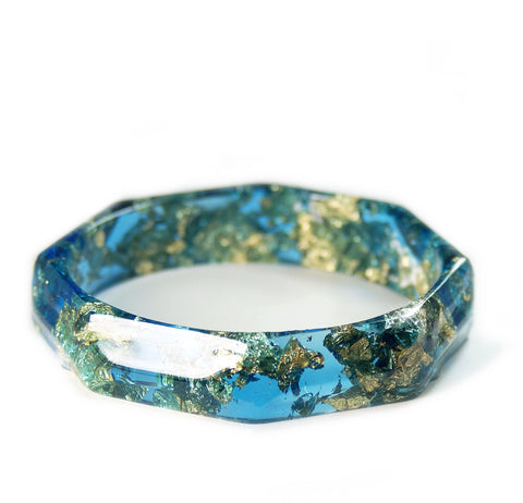 Faceted Teal and Gold Flake Bracelet