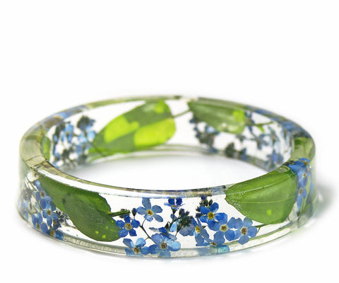 Forget Me Not Flowers Resin Bracelet