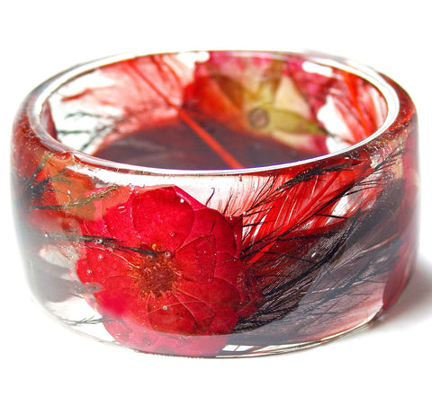 Red Feather Roses Resin Bracelet