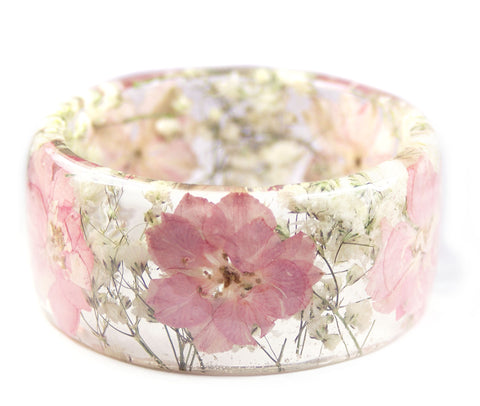 Soft Pink Flower Resin Bracelet