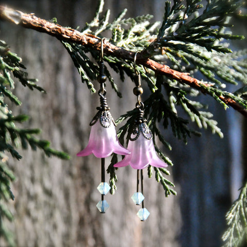 Undine Lavender and Seafoam Flower Earrings