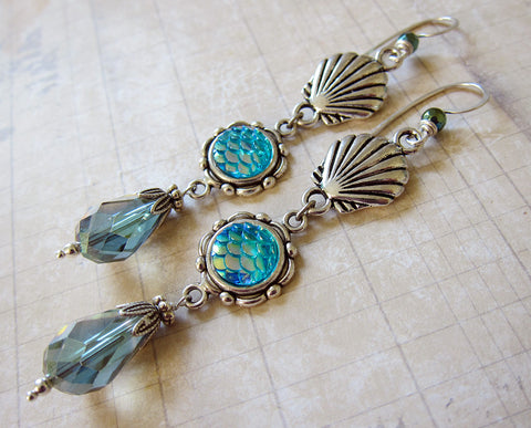Mermaid Treasures - Iridescent Aqua Mermaid Scale Earrings