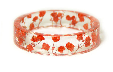 Red Dried Flowers Resin Bracelet