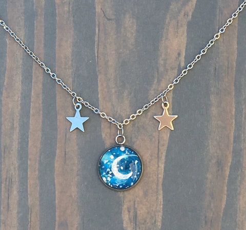 Hand Painted Watercolor Moon Pendant Necklace with Stars