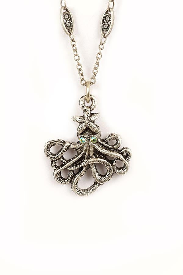 Small octopus pendant necklace mozeypictures Choice Image