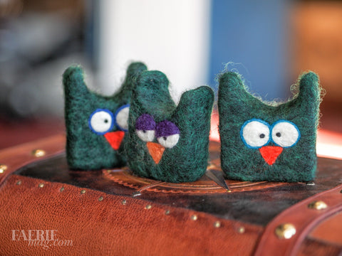 Felted OWL Soap in Dark Forest Green