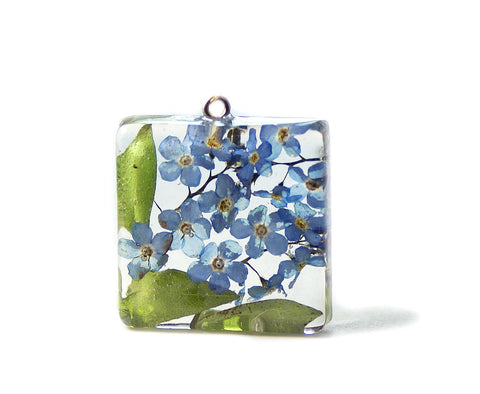 Forget Me Not Flowers Resin Pendant
