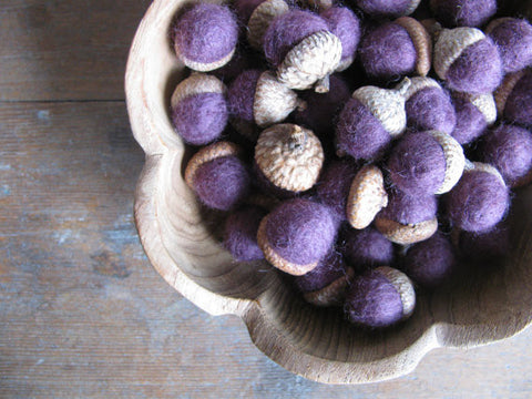 Felted Wool Acorn -  Plum