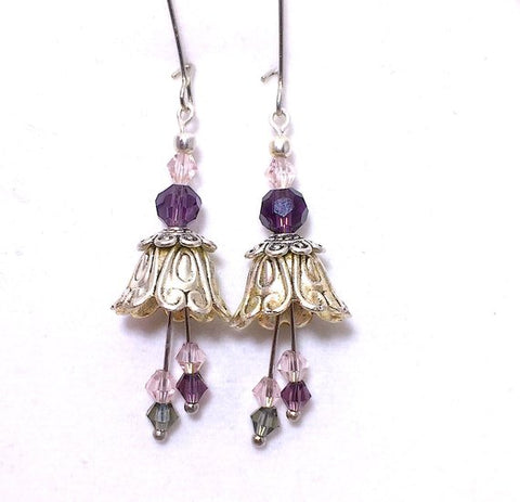 Silver Fairy Flower Earrings with Purple and Pink
