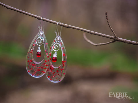 Cupid's Blossoms - Red Baby's Breath Earrings