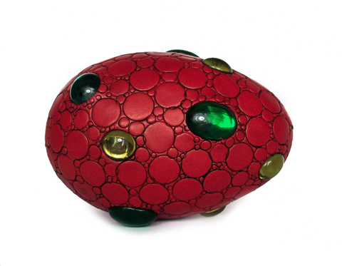 Red Dragon Egg with Green Gems