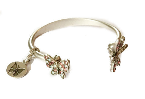 Butterfly and Dragonfly Open Bracelet -- Rose