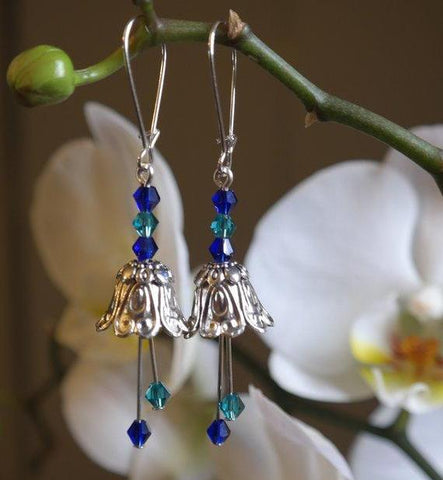Silver Fairy Flower Earrings with Blue & Green