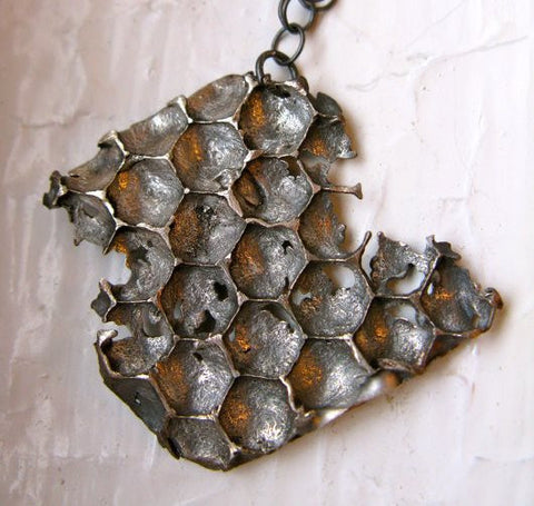 Sterling Silver Long Honeycomb Necklace