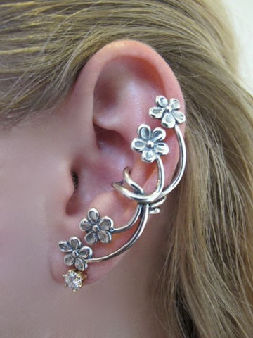 Ear Cuff - Forget Me Not - Sterling Silver