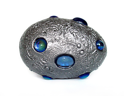 Silver Dragon Egg with Blue Gems