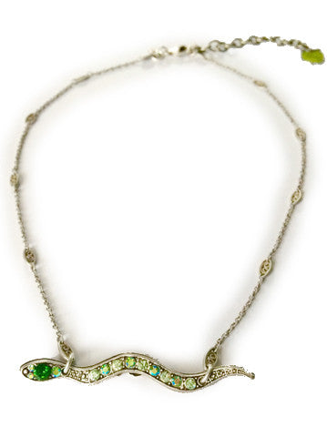 """The Garden of Eden"" Sweet Serpent Necklace with Apple Charm"