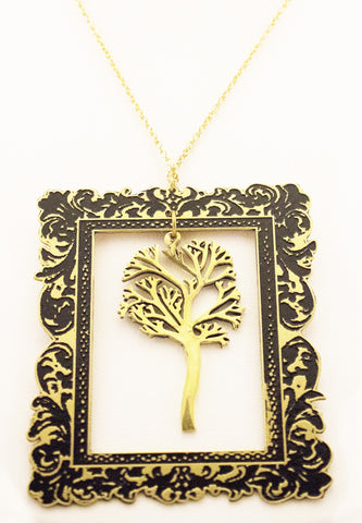 Brass Tree in Frame Necklace