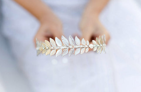 The Triple Silver Goddess Leaf Headband