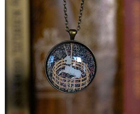 Unicorn in Captivity Looking Glass Pendant