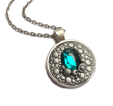 Silver Scale Dragon Pendant with Aqua Cabochon
