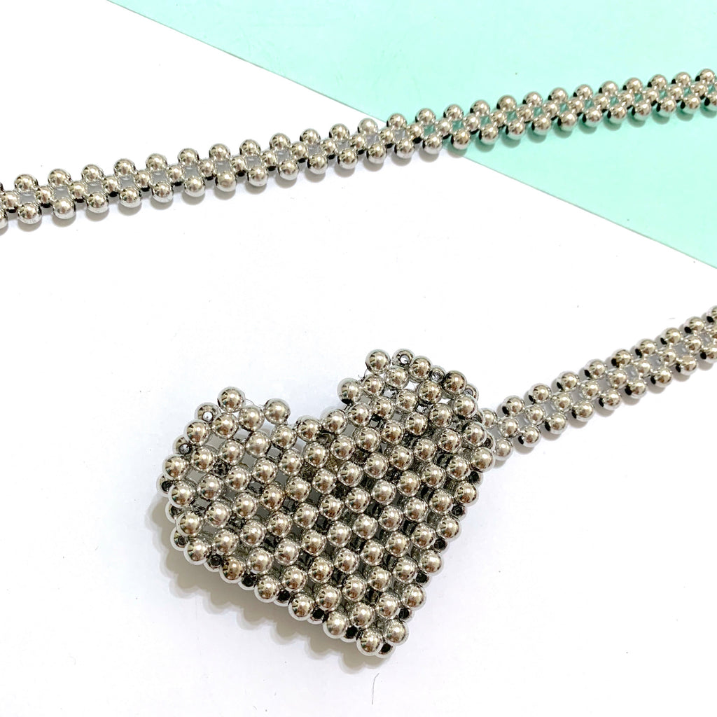 Mini heart beaded bag - silver