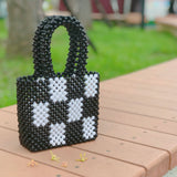 Checkerboard mini tote bag - black - JCC