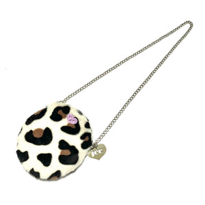 Disco leopard round bag - white