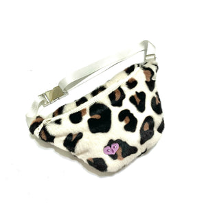 Disco leopard bum bag - white