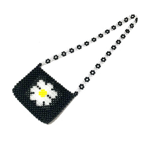 Daily daisy beaded bag - black - JCC
