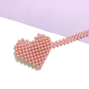 Mini heart beaded bag - pink