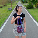 Lucky charm crossbody bag - purple leopard - JCC