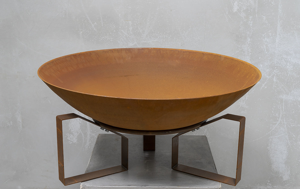 Square Fire Pit Base with Hand spun corten bowl