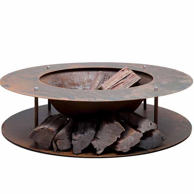 Wood Store Fire Pit with Bowl / Large