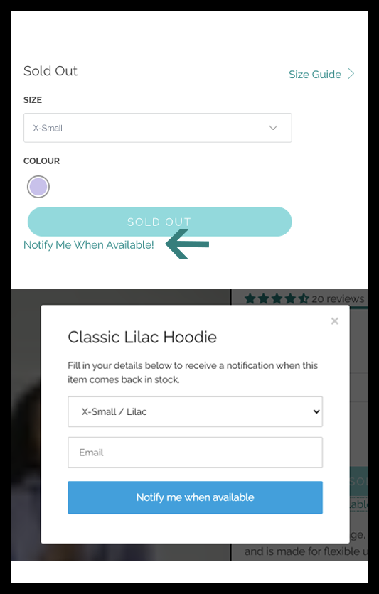 How to sign up for out of stock notifications from Gym+Coffee