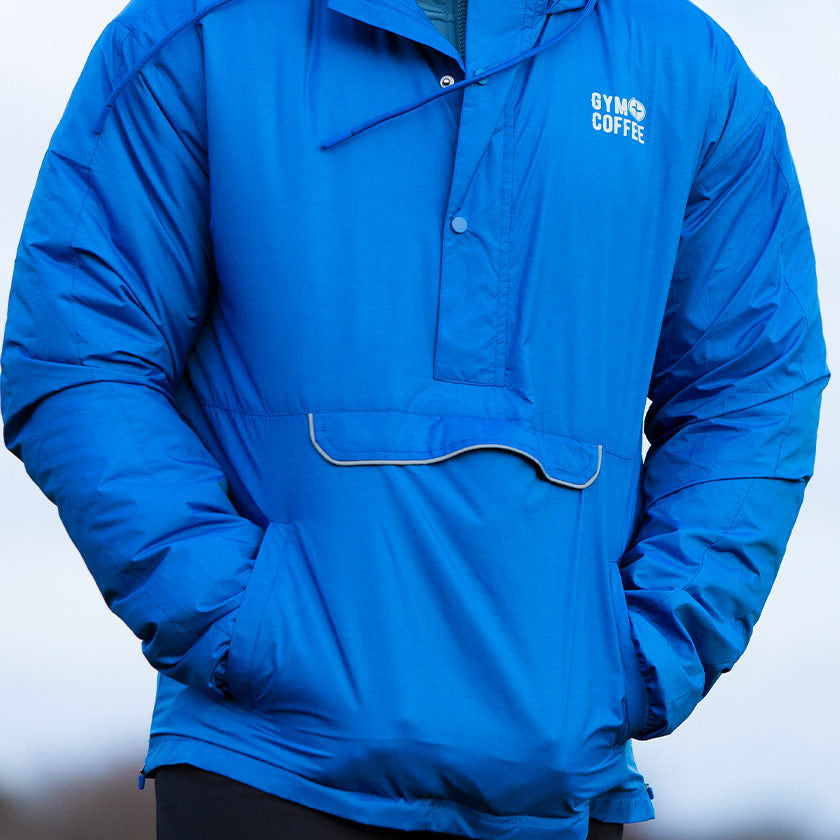 Gym plus coffee shop mens meraki windbreaker in blue