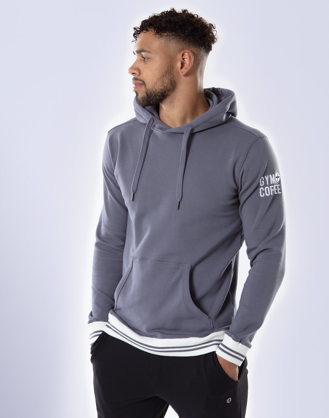 Gym Plus Coffee Hoodie Men's Retro Pullover Hoodie in Stone Blue Designed in Ireland