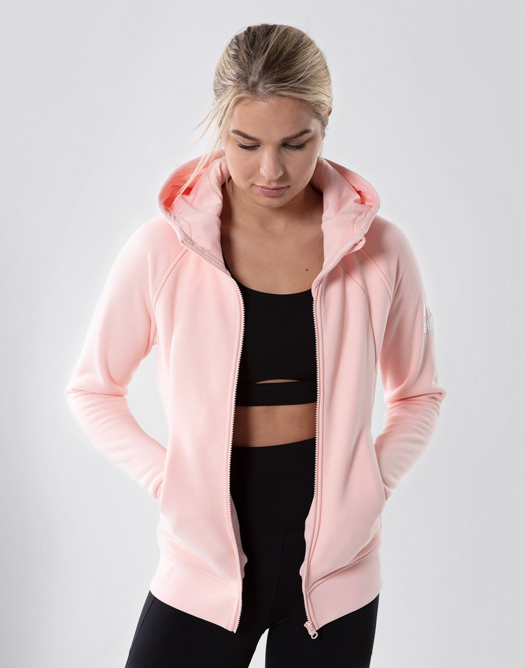 Gym Plus Coffee Hoodie Sierra Fleece Hoodie in Ice Pink Designed in Ireland