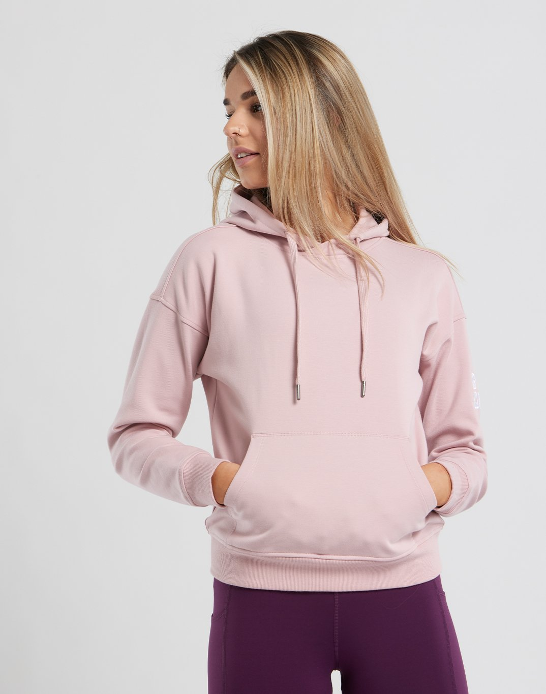 Gym Plus Coffee Hoodie Womens Chill Pullover in Dusty Pink Designed in Ireland