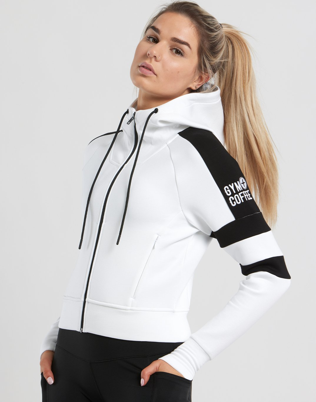 Gym Plus Coffee Hoodie Womens Striker Crop Hoodie in White/Black Designed in Ireland