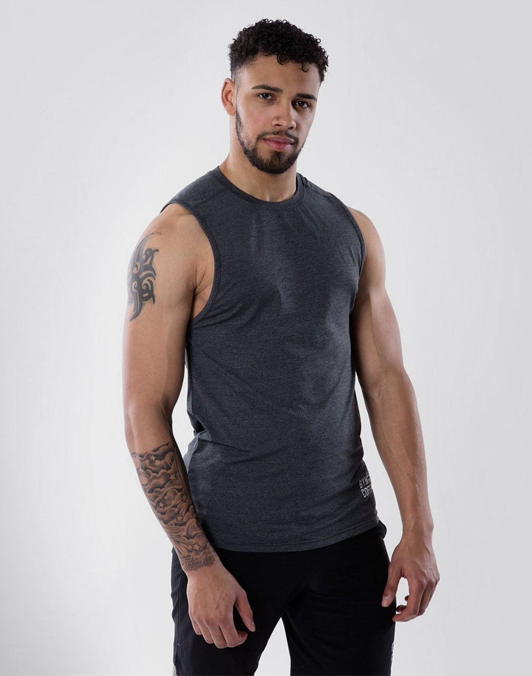 Gym Plus Coffee Vest Raglan Tech Vest in Charcoal Designed in Ireland