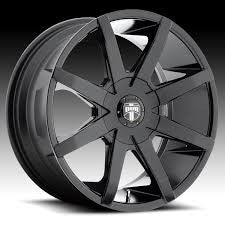 "24 INCH DUB PUSH GLOSS BLACK 24"" DUB PUSH BLACK WHEELS & TIRES TAHOE ESCALADE SILVERADO AVALANCHE"