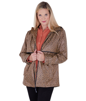 Open image in slideshow, Charles River Leopard Print Rain Coat