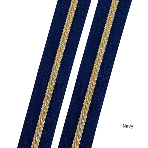 #5 Navy Zipper - Gold Coil
