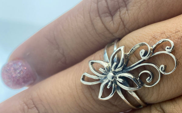 Sterling  Silver Flower Style Ring