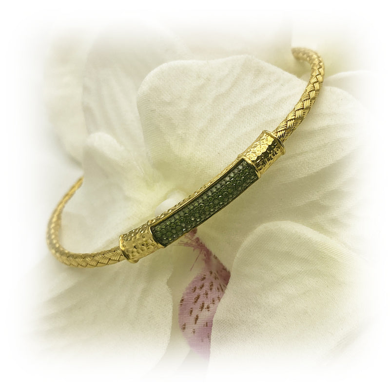 Sterling Silver Gold Tone Green Diamond Bangle Bracelet