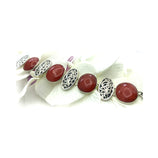 Sterling Silver Red Agate Oval Shape Bracelet
